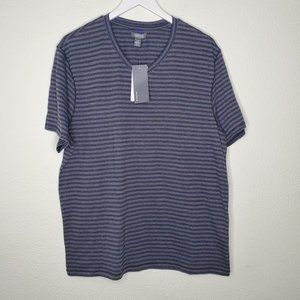Kenneth Cole Reaction Gray Striped V Neck Tee